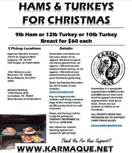 2014 Christmas hams and turkeys