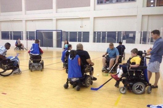 2016 wheelchair hockey practice