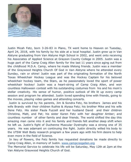 Justin's obituary